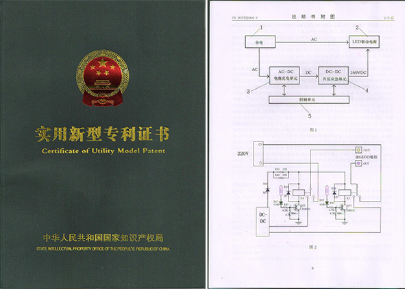Certificate of Utility Model Patent for Emergency Backup Pack