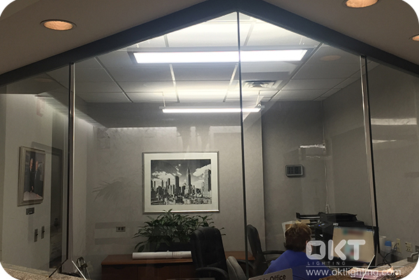 1x4ft Up And Down Linear Panel Light In The Reception Desk For A Company
