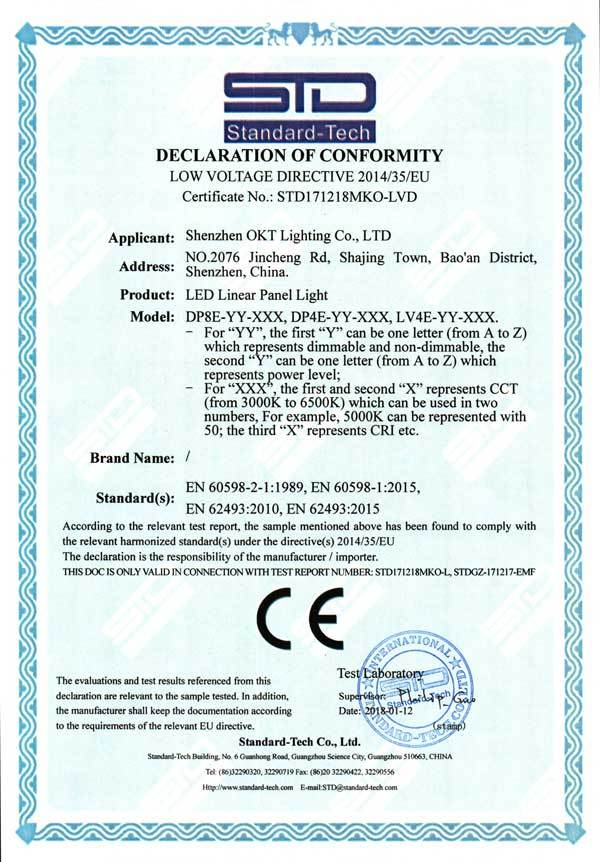 CE Certificate for LED Linear Fixtures (DP & LV Series)
